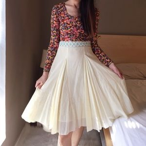 Anthropologie Lauren Moffatt cream skirt.